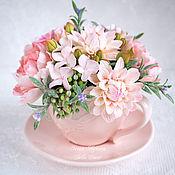 Цветочная композиция в чашке, полимерная глина. Ирина Айнова BelleDecor