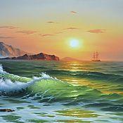 """Авторская картина маслом """"Волна на просвет"""". Волшебный мир уникальных картин"""