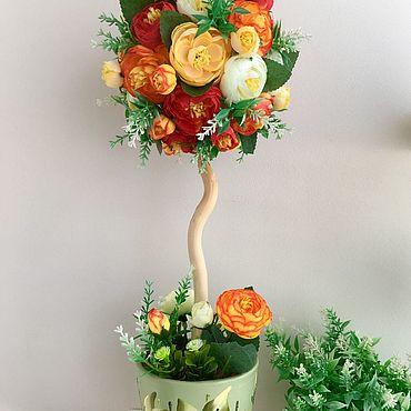 Цветы и флористика ручной работы. Ярмарка Мастеров - ручная работа Топиарий с камелиями. Handmade.