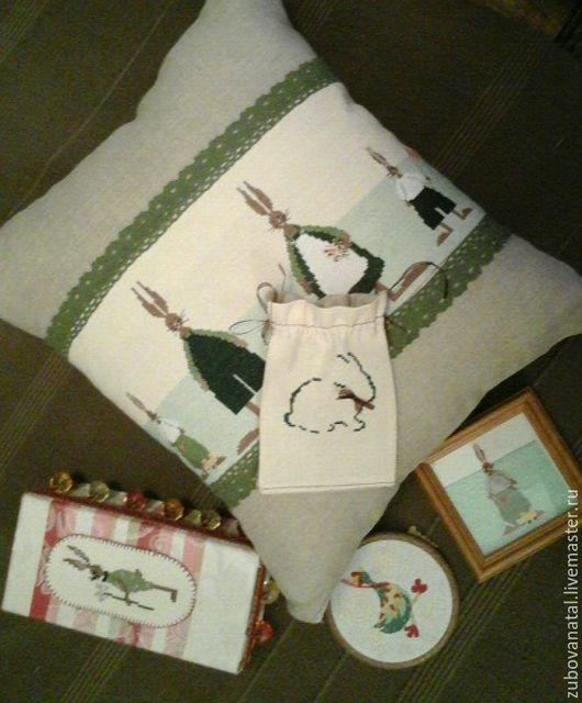 Текстиль, ковры ручной работы. Ярмарка Мастеров - ручная работа. Купить Мятные кролики. Handmade. Комбинированный, подушка на диван, лето