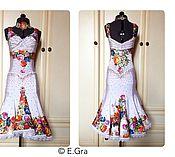 """Одежда ручной работы. Ярмарка Мастеров - ручная работа Белая """"цветочная"""" латина. Handmade."""