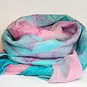 Шарфы ручной работы. Ярмарка Мастеров - ручная работа шарф валяный мятно-розовый. Handmade.