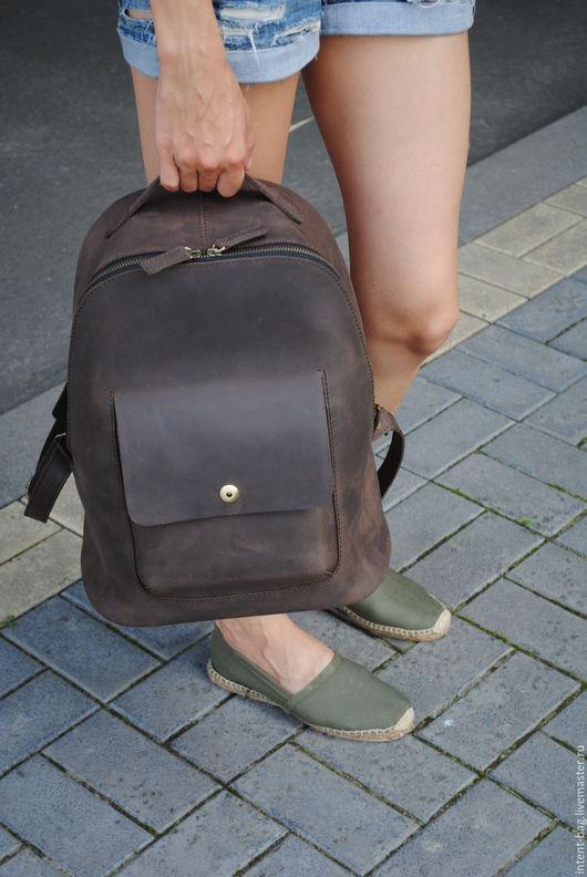 Рюкзаки ручной работы. Ярмарка Мастеров - ручная работа. Купить C009(brown crazy horse). Handmade. Коричневый, рюкзак городской