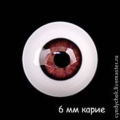 Материалы для творчества ручной работы. Ярмарка Мастеров - ручная работа 6 мм, карие Глаза акриловые для кукол. Handmade.