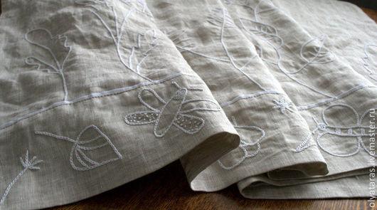 """Текстиль, ковры ручной работы. Ярмарка Мастеров - ручная работа. Купить Шторка для кухни """"Букашки-Травинки"""".. Handmade. Серый"""