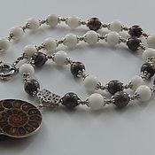 Украшения handmade. Livemaster - original item Necklace made of Jasper and coral pendant Ammonite