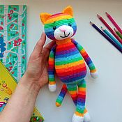 Куклы и игрушки handmade. Livemaster - original item Rainbow cat knitted Soft toy. Handmade.
