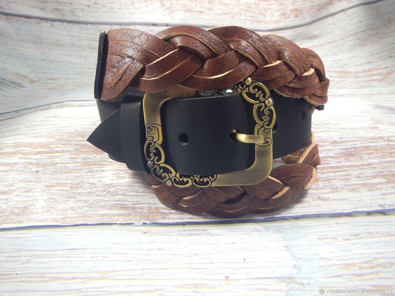 Women's Leather Braided Belt with Buckle Braiding, Straps, Ulyanovsk,  Фото №1
