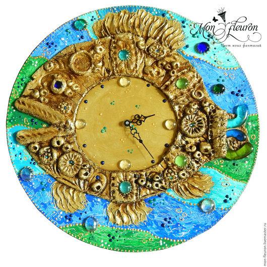 """Часы для дома ручной работы. Ярмарка Мастеров - ручная работа. Купить Часы """"Золотая рыбка"""". Handmade. Золотой"""