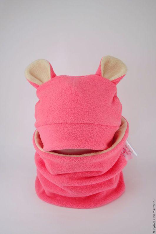 Очаровательная флисовая шапочка`Мышонок`. Яркий и тёплый аксессуар для вашего самого дорогого человечка! ;)