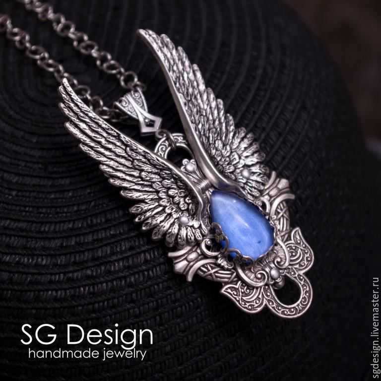 Silver plated pendant angel kyanite necklace wings silver plated pendant angel kyanite necklace wings gothic aloadofball Image collections