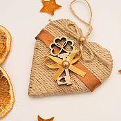 Подарки к праздникам ручной работы. Ярмарка Мастеров - ручная работа Елочная игрушка украшение из шпагата. Handmade.