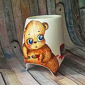 """Посуда ручной работы. Ярмарка Мастеров - ручная работа """"Плюшевый медвежонок"""" чашка с ножками. Handmade."""