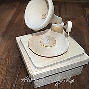 Материалы для творчества ручной работы. Ярмарка Мастеров - ручная работа Патефон - шкатулка-коробочка неокрашенное дерево. Handmade.