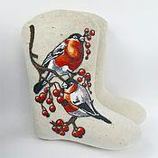 """Обувь ручной работы. Ярмарка Мастеров - ручная работа Валенки женские """"Снегири"""". Handmade."""