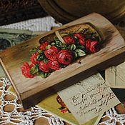 """Для дома и интерьера ручной работы. Ярмарка Мастеров - ручная работа Купюрница """"Розы в корзине"""". Handmade."""