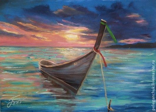 Пейзаж ручной работы. Ярмарка Мастеров - ручная работа. Купить Картина маслом на холсте, морской пейзаж, море - Закат над морем. Handmade.