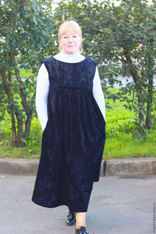 Платья ручной работы. Ярмарка Мастеров - ручная работа. Купить Сарафан из темно-синего микровельвета. Handmade. Тёмно-синий, лето