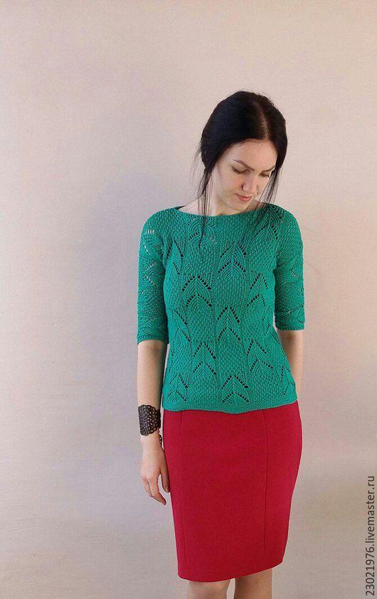 Кофты и свитера ручной работы. Ярмарка Мастеров - ручная работа. Купить пуловер Адриана. Handmade. Тёмно-зелёный, пуловер ажурный