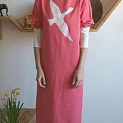 Одежда ручной работы. Ярмарка Мастеров - ручная работа Трикотажное платье Лебедь коралл. Handmade.
