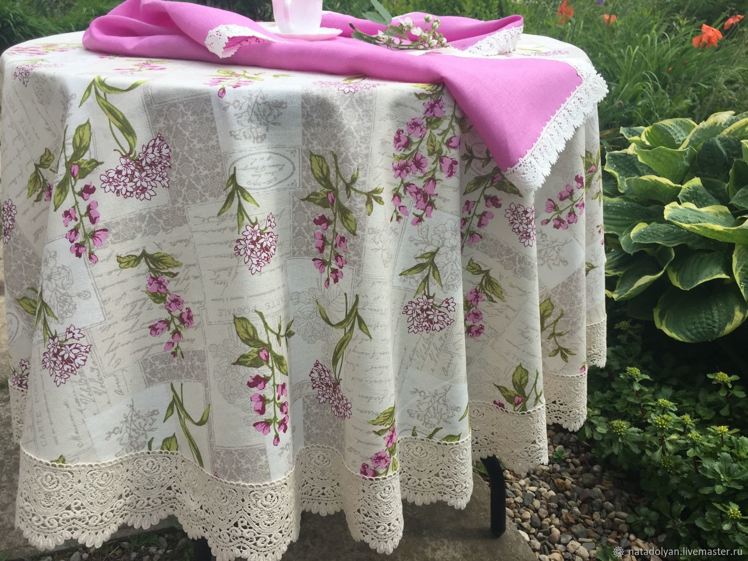 Cotton tablecloth 'Summer flowers' in stock round, Tablecloths, Ivanovo,  Фото №1