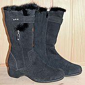 Обувь ручной работы. Ярмарка Мастеров - ручная работа Зимние замшевые сапоги. Handmade.