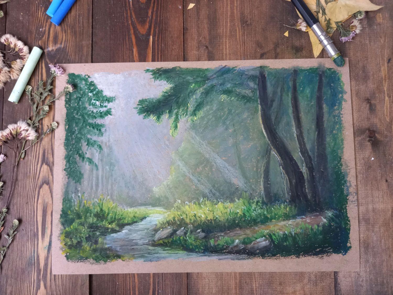 """Картина """" Ручей в лесу"""" масляная пастель, Картины, Новочеркасск,  Фото №1"""