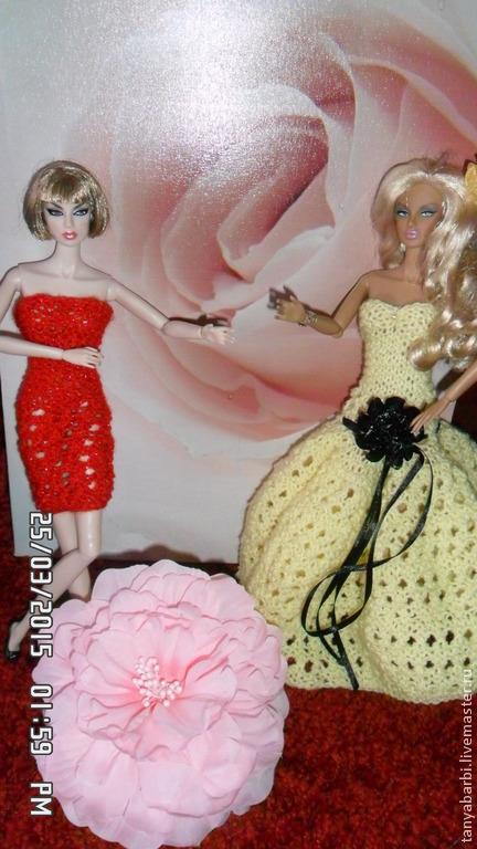 Одежда для кукол ручной работы. Ярмарка Мастеров - ручная работа. Купить вязаное платье для кукол. Handmade. Ярко-желтый