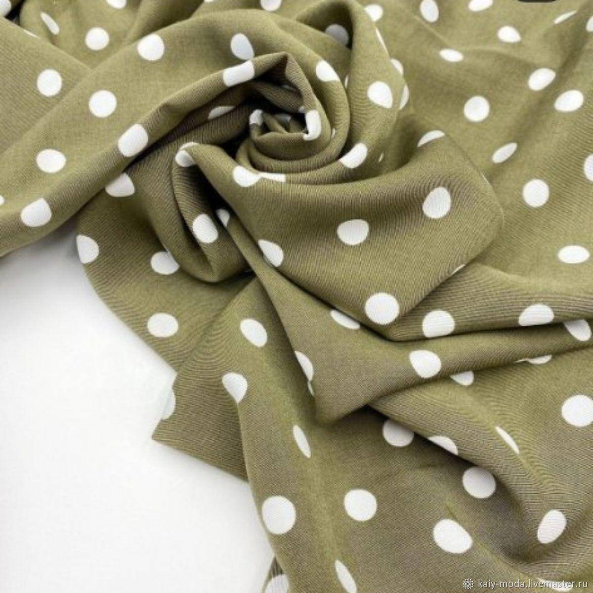 Viscose platelnaya polka dots on olive oil, Fabric, Moscow,  Фото №1