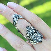 Украшения handmade. Livemaster - original item Double ring Ethno ornament made of 925 sterling silver for the whole finger GA0064. Handmade.