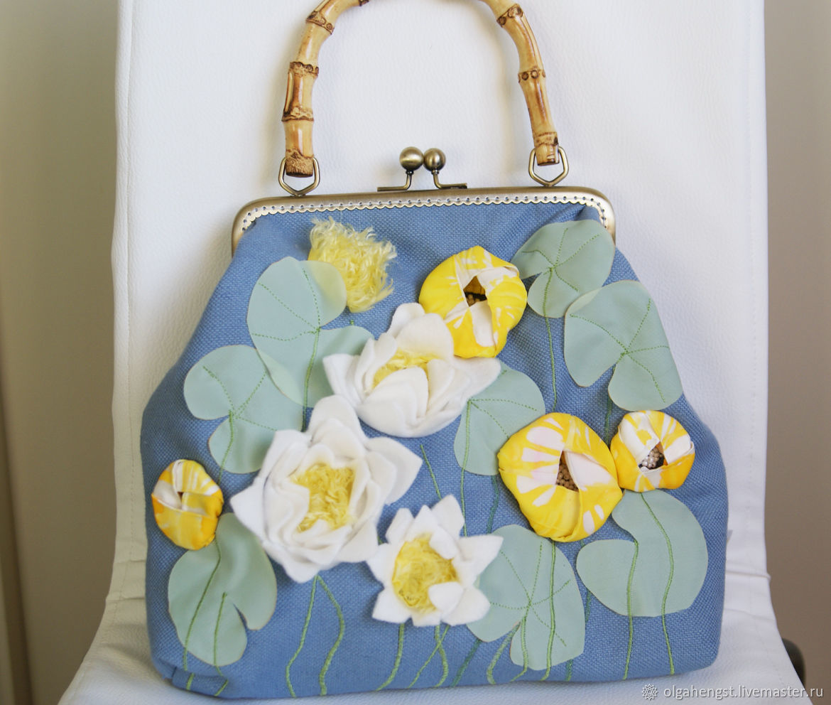 Clasp bag: embroidered with silk ribbons Water lilies water Lilies, Clasp Bag, Udin,  Фото №1