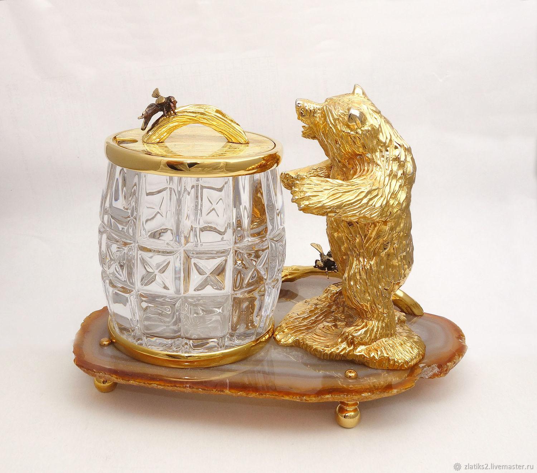 """-Медовница """"Медведь на агате""""-, Подарки, Златоуст,  Фото №1"""