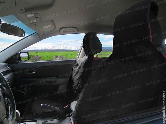 Автомобильные ручной работы. Ярмарка Мастеров - ручная работа. Купить Накидки на сиденья авто из овечьих шкур (2 шт.), чёрные. Handmade.