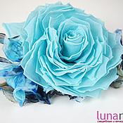 Свадебный салон ручной работы. Ярмарка Мастеров - ручная работа Голубая роза брошь. Брошь Роза из шелка.. Handmade.