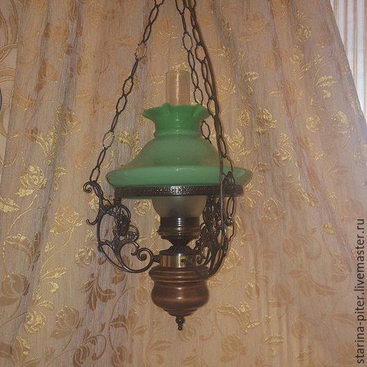 Винтажные предметы интерьера. Ярмарка Мастеров - ручная работа. Купить Старинная люстра.. Handmade. Ярко-зелёный, зелёное стекло