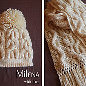 Аксессуары handmade. Livemaster - original item Knitted kit White Lily, knitted hat, knitted scarf.. Handmade.