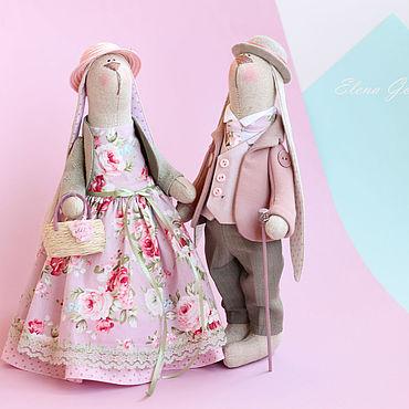 """Куклы и игрушки ручной работы. Ярмарка Мастеров - ручная работа Тильды: Пара зайчиков """"Розовый туман"""". Handmade."""