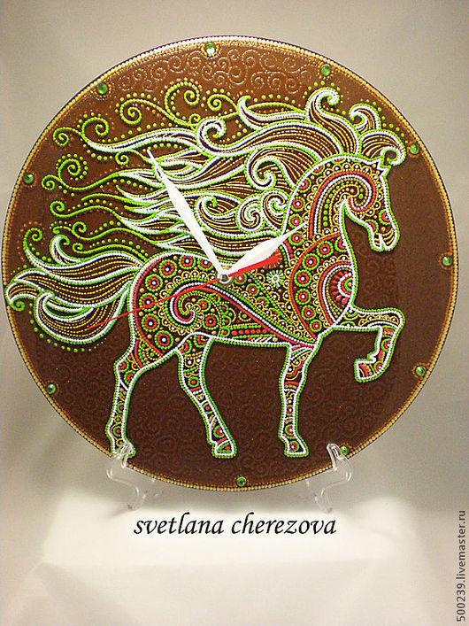 """Часы для дома ручной работы. Ярмарка Мастеров - ручная работа. Купить Часы """"Сказка про зеленую лошадь"""". Handmade."""