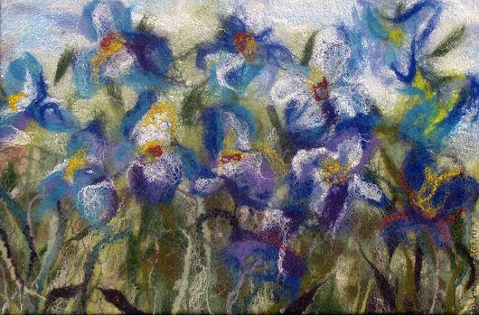 """Картины цветов ручной работы. Ярмарка Мастеров - ручная работа. Купить Картина """"Под небом голубым..."""", войлок.. Handmade."""