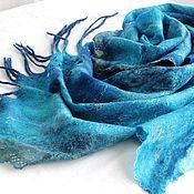 Аксессуары ручной работы. Ярмарка Мастеров - ручная работа Бирюзовая нежность   шарф  валяный  оригинальный. Handmade.