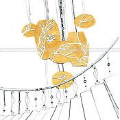 """Картины и панно ручной работы. Ярмарка Мастеров - ручная работа Графика """"Золотая люстра"""". Handmade."""