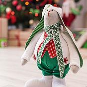 Подарки к праздникам ручной работы. Ярмарка Мастеров - ручная работа Новогодний заяц-тильда. Handmade.