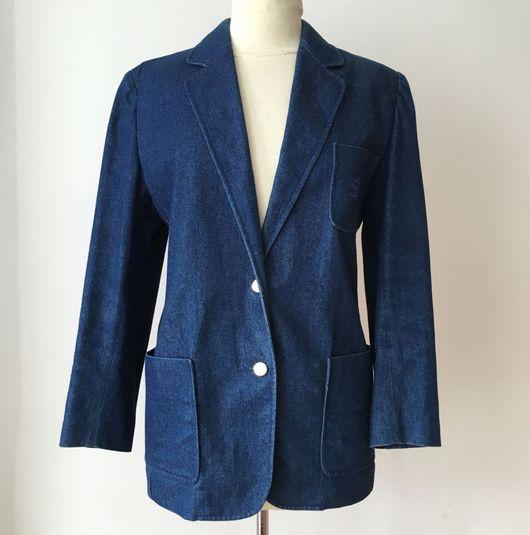 Одежда. Ярмарка Мастеров - ручная работа. Купить Винтажный жакет BURBERRYS, конец 1980'х годов. Handmade. Тёмно-синий