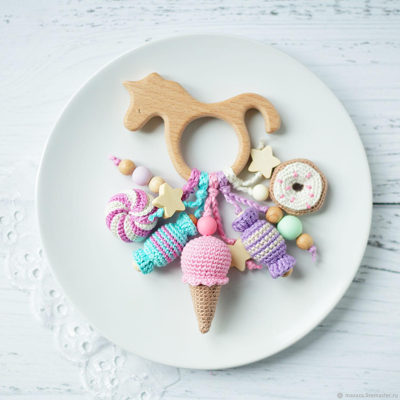 Прорезыватель-единорожек с вязанными сладостями - уникальный подарок, Слингобусы, Рязань, Фото №1