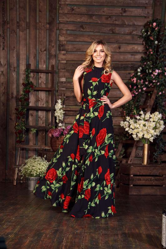 платье без рукавов, длинное нарядное платье, летнее платье в пол, вечернее платье, красивое цветочное платье, черное длинное платье из шифона, платье с принтом розы, черное нарядное платье в пол