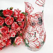 Для дома и интерьера ручной работы. Ярмарка Мастеров - ручная работа ваза для цветов с росписью Маки. Handmade.