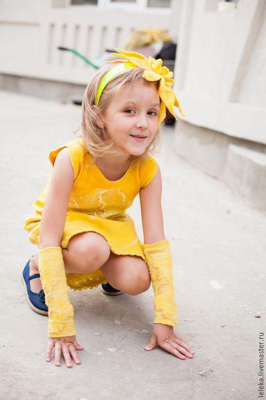 """Одежда для девочек, ручной работы. Ярмарка Мастеров - ручная работа. Купить платье для девочки""""солнышко мое"""". Handmade. Желтый, шерсть"""