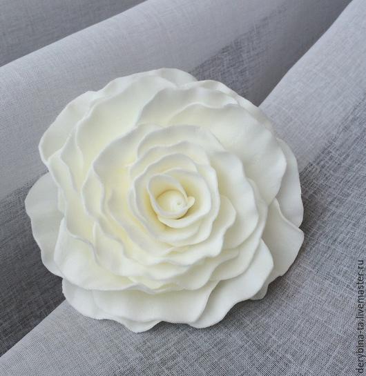 Диадемы, обручи ручной работы. Ярмарка Мастеров - ручная работа. Купить Белая роза. Цветок из фоамирана.. Handmade. Белый