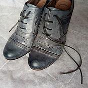 Обувь винтажная ручной работы. Ярмарка Мастеров - ручная работа Серые ботильоны с перфорацией, винтаж Германия. Handmade.