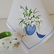 Swipe handmade. Livemaster - original item Easter Napkin with Embroidered Snowdrops (white). Handmade.